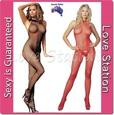 Sexy Open Crotch Fishnet Body Stocking Sleeveless Black or Red B6