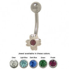 Flower Belly Ring Surgical Steel with Jewel