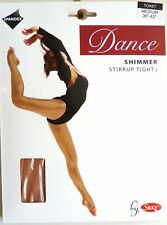 SILKY SHIMMER DANCE TIGHTS Stirrup Foot Toast Girls Sizes 10% Spandex