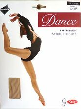 SILKY SHIMMER DANCE TIGHTS Stirrup Foot Light Toast Girls Sizes 10% Spandex