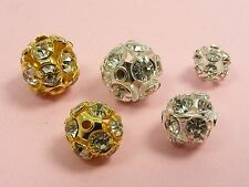 5 x ORANATE Rhinestone FILIGREE Round BALL BEADS Findings ~6mm / 8mm / 10mm~
