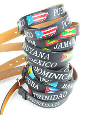 South American & Caribbean Flags Leather Belts (LOTBELTFL)