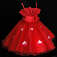 Red Wedding Party Bridesmaid Flower Girls Pagent Dress SIZE 2-3-4-5-6-7-8-10Y