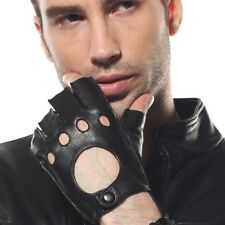 Mens REAL LEATHER motorcycle driving FINGERLESS gloves