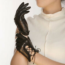 GENUINE LEATHER unlined perforated driving gloves lace