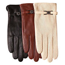 Women's GENUINE LAMBSKIN leather fashion grace gloves