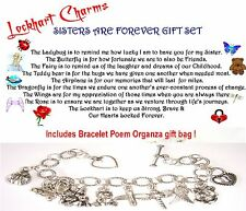 Sisters Are Forever Charm Bracelet poem organza gift ba