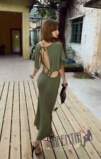 New Fashion Sexy Women Short Sleeve Backless Long Dress Club Wear Party Dress