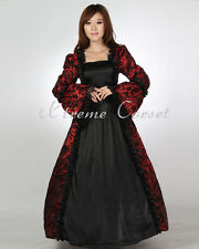 Victorian Vintage Medieval Evening Dress Gothic Tops Ball Gown Prom 4 Size