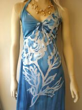 LADIES SUMMER PARTY EVENING MAXI DRESS BLUE STRETCH Sz XS S M 6 8 10 12