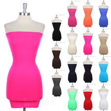 Sexy Seamless Stretchable Plain Tunic LAYERING FITTED Tube Top Dress ONE SIZE