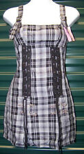 "LIP SERVICE ""Skate 'n Disorderly"" Lace-up in Grey, Green, Pink, Blue Plaid NWT"