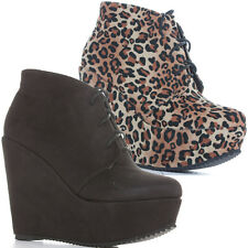 Ladies Womens Black Suede Leopard Wedge High Heel Ankle Boots Size 3 4 5 6 7 8