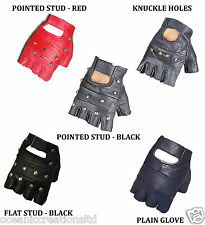 Plain or Studded Fingerless Biker Punk Goth Driving Cycling Gloves -REAL LEATHER