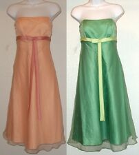 NWOT Genuine ALFRED ANGELO strapless organza peach or green dress, style # 6476