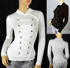 Cool Ladies Military Style Body Shape Soft Knitting Top Sweater Shirt Coat 302