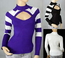 Sexy Ladies Body Shape Soft Pullover Long Sleeves Flirt Knitting Top Sweater 301