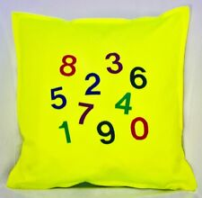 children plain & embroidered bright fluorescent yellow lime green cushion covers