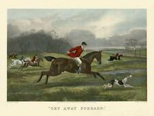 FOX HUNTING Scene Horses and Hounds 19thC Engraving Vintage Poster repo FREE S/H