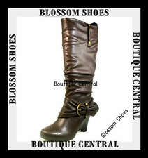 DESIGNER SHOES BROWN WEDGES MID CALF BOOTS HIGH HEELS AU 6 6.5 7 7.5 8 8.5 9 10