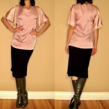 $402 Alexander McQueen Italy Pink Silk Cowl Neck Flowy Tunic Blouse IT40/2-4 NWT