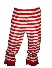 SEXY RED & WHITE STRIPED WALLY GIRL LONG 3/4 BLOOMERS PANTS SHORTS FANCY DRESS
