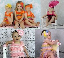 Baby Ruffle Lace Petti Rompers Multi w/Straps Toddler photo prop portrait U-pick