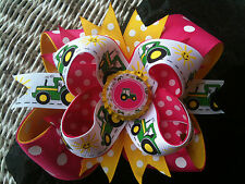 JOHN DEERE TRACTOR HOT PINK BOTTLECAP HAIRBOW WITH OPTIONS