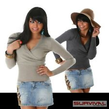 NEW SEXY SZ 6 8 10 WOMENS LADIES CASUAL JUMPER V-NECK SWEATER TOP BEIGE GREY S/M