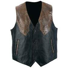 NWT Mens Brown Black Leather Motorcycle Vest Western Tour Travel M L XL 2X GIFT