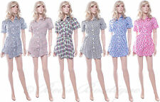 BNWT Ladies Cotton Summer Shirt Dress Various Styles Size 10 12 14 16 New