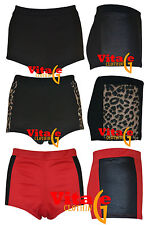Womens girls pvc/leopard side panels high waisted  hotpants ladies party shorts