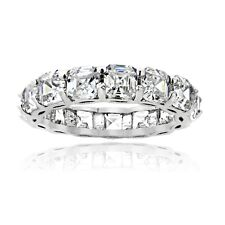 925 Sterling Silver 5.85ct Asscher-Cut CZ Eternity Wedding Band Ring