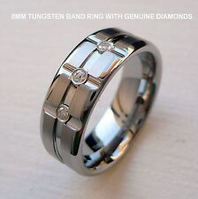 MEN'S 8MM TUNGSTEN CARBIDE BAND RING WITH GENUINE DIAMONDS