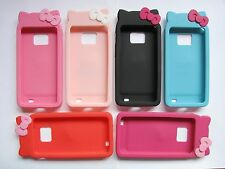★★ KITTY CAT BEAR RUBBER SILICONE PHONE CASE COVER ★★ SAMSUNG GALAXY S2 I9100 ★★