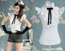 Japan fashion punk Rock gothic Lolita Lace Collar top Blouse Shirt White S~XL