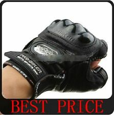 Pro-Biker Fingerless Motorcycle Leather Gloves BLACK M,L,XL