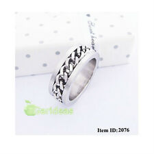 Men's Silver Stainless Steel Chain Ring Item ID:2076 US Size 6 7 8 9 10 11(1Pcs)