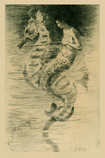 Mermaid Riding Seahorse by Frederick Stuart Church Reproduction FREE SHIPPING