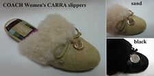 COACH Women's A0024 CARRA Signature C Embossed Shearling Trim Slippers 5 NEW