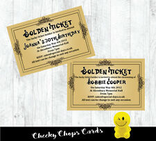 Personalised Invitations Willy Wonka Golden Ticket All quantities - JEC0001