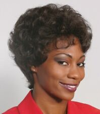 VP-1 WOMAN LADY SHORT WAVY CURLY WIG TAPERED BACK BROWN BLACK BLONDE GREY 1215