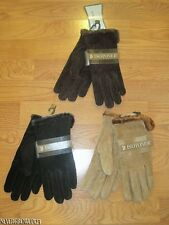 WOMENS~LADIES ISOTONER MICROLUXE LINED SUEDE GLOVES~M~L~BLACK~BROWN~CARAMEL~NWT