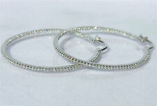 """IN & OUT Diamonds 1ct 14K White, Yellow or Pink Gold Large Hoop Earrings 1.35"""""""