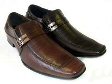 NEW MENS LEATHER DRESS SHOES BUCKLE STRAP LOAFERS SLIP ON  SHOE HORN / 2 Colors