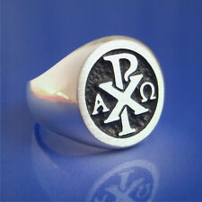 Chi Rho Alpha Omega Ring - Solid Sterling Silver - Size 8 to 13