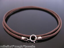 """2mm Brown Waxed Cord & Sterling Silver Necklace 14"""" 16"""" 18"""" 20"""" 22"""" 24"""" 26"""" etc."""