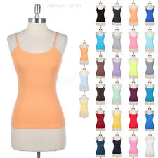 Basic Solid Plain Spaghetti Strap Cotton Camisole Layering Tank Top Gym S M L