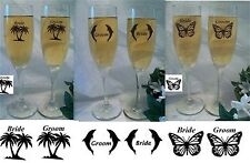 Wedding Toasting Flute Glasses Butterflies Dolphin or Palm Tree Beach Ocean