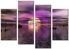 NEW MODERN CANVAS WALL ART LARGE ABSTRACT 4 PANEL PRINTS  PICTURE 6pm PURPLE